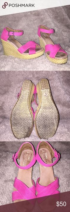 Toms pink strappy wedges size 6 Great condition toms strappy wedges size 6. Minimal foot imprint is only flaw TOMS Shoes Wedges