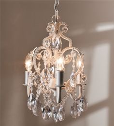 Main image for 12%26quot; Glass and Acrylic Bead Dangling Princess Chandelier with 3 25-Watt Bulbs