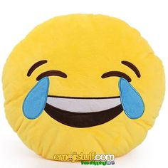 """""""Face With Tears Of Joy"""" is the official name for this emoji, but we like to call it the LMAO!  Just looking at it makes us LOL.  It would make a nice emoji present for the person in your life who loves comedy or who makes you ROFL or laugh till you cry.  It's a great emoji throw pillow that makes a good decoration to add happiness to your home."""