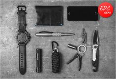 EDC7: Tsovet SVT-AX87, Bellroy Slim Sleeve, TuffWriter Operator Pen, AA Black Flashlight, Paracord Survival Pod, Huckberry EDC Kit, Titanium Pickpocket Pocket Clip and US Govt. Issue Carabiner Knife