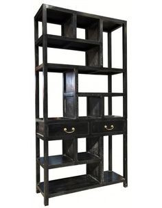 Antique Style Bookcase, Ming Bookcase, Hand Rubbed Black - Bookcases - Accent Furniture - Living Room