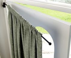 Large Swing Curtain Drapery Arm If you have ever tried to hang a door curtain from a standard pole, you will know why this drapery arm is so brilliant. It has a bracket that attaches to the wall Hallway Curtains, Front Door Curtains, Front Doors With Windows, Diy Curtains, Curtains With Blinds, Door Curtain Pole, Swing Arm Curtain Rods, Curtain Poles, Ideas Armario