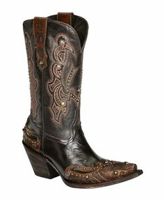 Lucchese 1883 Granito Calfskin with Hand Tooled Design Cowgirl Boots - Snip Toe.