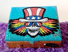 Grateful Dead-Custom Hand Painted Cigar Box Art-Skull Decor-Cigar Box-Smoking Decor–Stash Box-Jewelry Box-Smoke Box–Music Décor by TimothyDaviesArt on Etsy