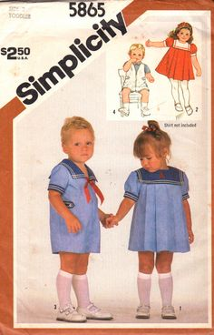 Simplicity 5865 1980s Toddlers Sailor Collar Nautical Dress and Romper boys and girls vintage sewing pattern by mbchills