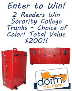 {Giveaway} 2 Readers Win Sorority College Trunks from Dormco.com! Total Value $200