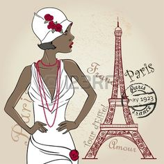 Glamour African American Lady with eiffel tower