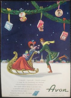 Vintage 1946 Avon Cosmetics Ad Print- In Radio City New York, Christmas Display
