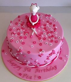 "Ballerina Birthday Cake   10"" choc mud covered in ganache & fondant with Gumpaste accents."