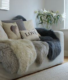 Neutral sheepskin rugs in super soft long sheepskin shades of taupe through to greys, stunning nordic inspired collection by Swedishdalahorse on Etsy