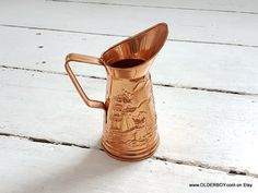 Vtg Jug Copper PEERAGE England Jug nautical motif Ships and Lighthouse water copper pitcher for water collectible jug home decor  O11/652