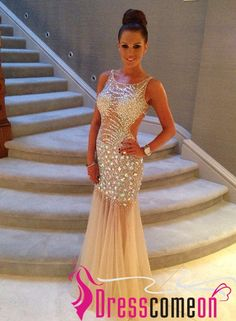 Luxury Mermaid Scoop Sexy Backless With Beaded Crystal Tulle Long Prom Dress