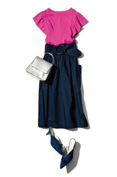 フューシャピンクで、小粋に華やぎたい♡ Work Fashion, Skirt Fashion, Fashion Looks, Fashion Outfits, Womens Fashion, Pink Outfits, Casual Outfits, What To Wear Tomorrow, Maxi Skirt Outfits