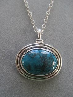 One of a Kind Sterling Silver Turquoise Pendant by RichelleJewelry