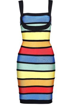 Herve Leger Rainbow Colored Square Neck Bandage Dress