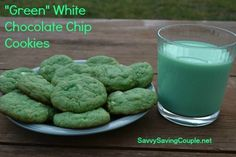 """""""Green"""" White Chocolate Chip Cookies  #St. Patricks Day #cookies #recipes #green #desserts #chocolatechips #foodchallenge"""