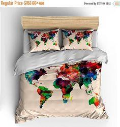 SALE 10%OFF Watercolor World Map Custom Bedding by redbeauty