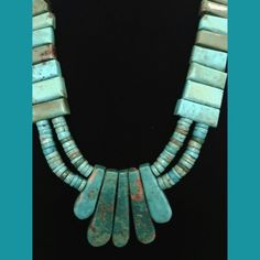 """Old Pawn Native American Turquoise Necklace This is the most beautiful turquoise necklace I have ever seen!   14"""" drop when worn. Has a heavy weight to it. Looks like a sterling clasp. Had for years and hate to part with it but I just don't wear it anymore. Vintage Jewelry Necklaces"""