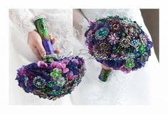 """Ruby Blooms is pleased to offer you the highest quality purple green and blue peacock bridal broach bouquet Designed for Purple Green and Blue Weddings, Bridal Flowers and Special Events! This is a DEPOSIT for Custom Made Peacock Wedding Brooch Bouquet The remaining balance will be due once Your wedding brooch bouquet is finished.We will send You photos to ensure that your bridal broach bouquet is compete prior shipping.• Bouquet Size and the Total Price of this stunning bouquet:6"""" bouquet…"""