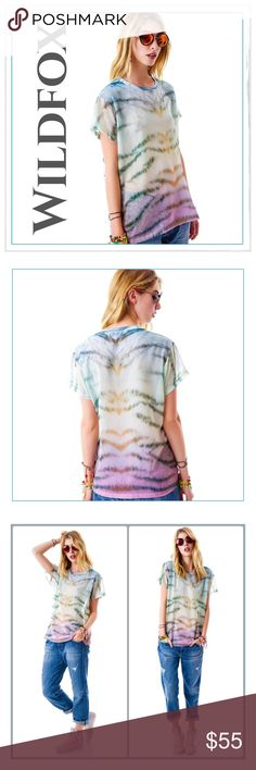 """Wildfox Chiffon Sherbet Tiger 'Breezie' Tee ✨Wildfox Chiffon Sherbet Tiger Striped 'Breezie' Tee✨This top features a multicolored tiger stripe print with hints of pink, and yellow✨Made from a lightweight and silky soft chiffon, this sheer top has a nice roomy fit that drapes perfectly✨This Is Awesome, Super Lightweight And Airy Tee✨100% Polyester✨Sold Out And Unique✨Approx Measurements: Bust-22.5""""/Length-26""""✨Great To Throw Over A Bathing Suit Or A Bralette✨NWT✨Size Small {Oversized}✨ Wildfox…"""