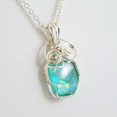 Wire Wrapped Dichroic Glass Necklace Aqua by HCJewelrybyRose, $24.00