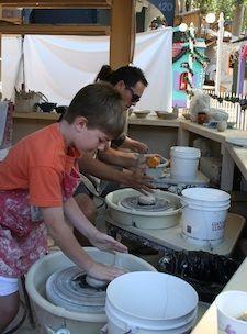 sawdust pottery wheel class - ceramics for kids