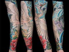 Crane tattoo sleeve