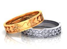 Polynesian design wedding bands