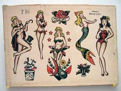 vintage Sailor Jerry mermaids…love the one second from the right.