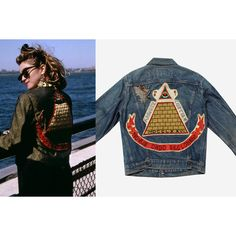 s a l e 1980s Madonna Desperately Seeking Susan Denim Jacket (€350) ❤ liked on Polyvore featuring outerwear, jackets, blue jackets, 80s denim jacket, blue denim jacket, blue jean jacket and embroidered jean jacket