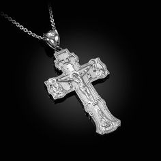 14K Yellow Gold-plated 925 Silver Cross With Shroud Pendant with 16 Necklace Jewels Obsession Cross With Shroud Necklace