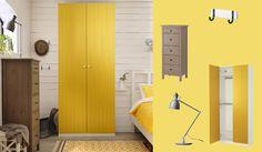 PAX white wardrobe with RISDAL yellow doors