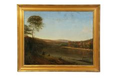 Selkirkauctions.com: RIVER LANDSCAPE (AMERICAN SCHOOL, LATE 19TH CENTURY).  Oil on canvas, unsigned. Figures along the banks of a river and a man on a raft. 26.25'h. 33.5'w., in a gilt molded frame, 32.5'h. 40'w.  Estimate $ 400-600  (Sold: $1,920)