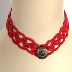 Romantic Red #Crochet Necklace  Handmade Lace with Vintage Button - light and cool to wear in warm weather! Also great for Christmas and Valentine's Day.