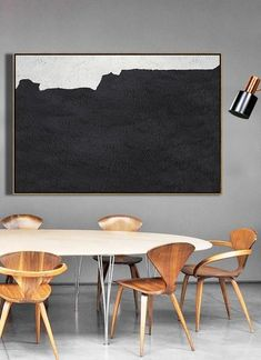 CZ Art Design - Hand-painted large textured painting, oversized Horizontal canvas art, Minimal Art black, white and pink, for neutral interior design decor. Minimalist Painting, Minimalist Art, Minimalist Interior, Black And White Painting, Black White, Bedroom Colour Palette, Large Canvas Art, People Art, Texture Painting