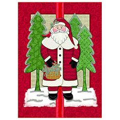"""Santa Handmade/Embellished Card Inside Saying: May all your wishes and dreams come true! Merry Christmas and Happy New Year.  Box of 12 Cards & Envelopes Measures: 5"""" x 7"""""""
