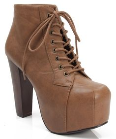 New Speed Limit 98 ROSA Lita Style Chunky Lace Up Ankle Boot Bootie TAN PU