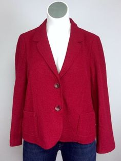 NWT $119 J. Jill XL RUBY Red Nubby Blazer Sweater Jacket 16/18 Plus Size #JJIll #BlazerJacket