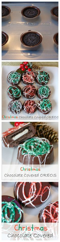 Chocolate Covered Oreos - Christmas Version!  Here is a great step-by-step tutorial to make these beautiful and rich cookies!  They look much more difficult to make than they are - very easy to do and make a great gift!!!!   LOL check out the toddler phot