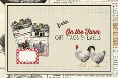 farm, labels, printable, printables, chickens, gingham, red gingham