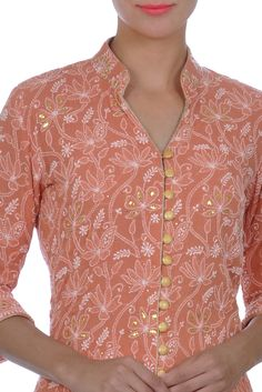 Peachy Orange Chikankari Kamdaani And Gota Patti Jacket With Skirt Kurtha Designs, Chudidhar Neck Designs, Salwar Neck Designs, Neck Designs For Suits, Kurta Neck Design, Neckline Designs, Sleeves Designs For Dresses, Dress Neck Designs, Kurta Designs Women