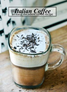 A fantastic italian coffee recipe (also known as Bicerin). cup hot chocolate, cup strong coffee chilled and shaken heavy cream (or steamed). Pour coffee into hot chocolate over the back of a spoon. I Love Coffee, My Coffee, Coffee Beans, Cheap Coffee, Ninja Coffee, Starbucks Coffee, Coffee Cafe, Coffee Drinks, Coffee Truck
