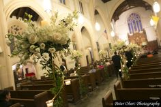 Church flowers - at the start of the aisle