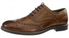 Red Tape Bradshaw Red Brown Lace Up Brogues Mens Leather Formal Smart Shoes - £26.99