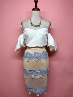 Falda nude con guipur azul - OH MY! STORE