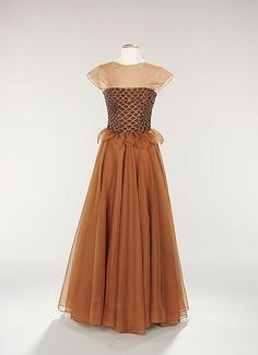 Evening dress Hattie Carnegie  Date: ca. 1949 Culture: American Medium: silk, beads Accession Number: 2009.300.302