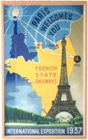 """Hildery 1937 Exposition French Art Deco Poster. This rare Paris 1937 Exposition poster was created in France """"By and for the French State Railways"""" for the American Market. The poster is dominated by the Statue of Liberty and the Eiffel Tower (with the 1937 Exhibition buildings in the background) over a map of France in yellow. Lines lead from Liberty's torch to the French ports of Cherbourg and Le Havre (ports of entry for steamships) to Paris…connected by the French Railway. Signed in the…"""
