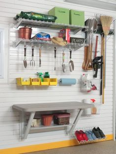 Wall mount table with resin top plus bins, baskets, hooks, towel rack and shoe shelf for your lawn / garden tools & supplies - GT512E
