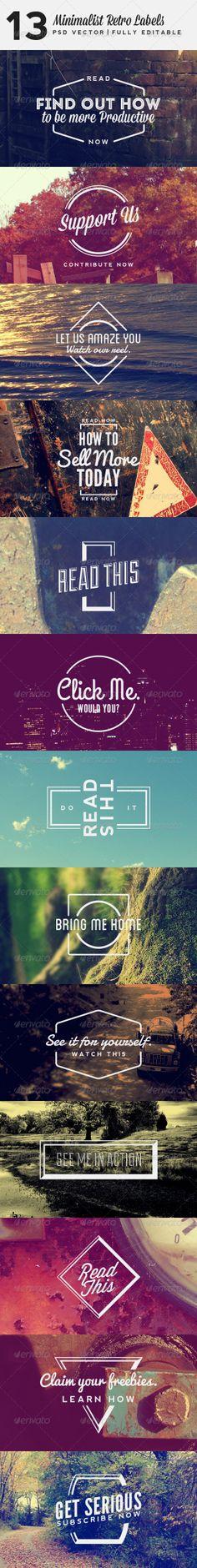 13 Minimalist Retro Labels - Badges & Stickers Web Elements