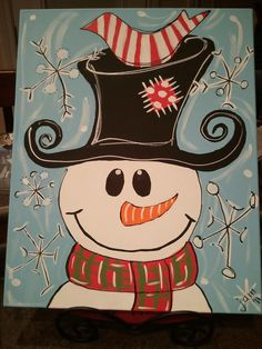 "Christmas Frosty - no link to original. But I believe it is the work of Jessi McCormick who pinned it on her page as ""My Paintings."" So whimsical!"